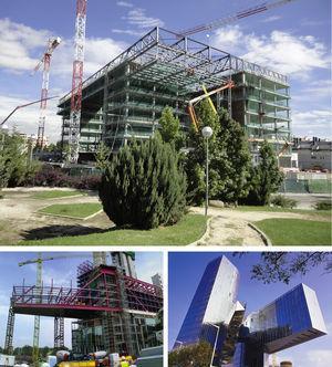 Edificio y cubierta del Centro de Proceso de Datos en fase de ejecución (arriba), edificio de la sede de Gas Natural en Barcelona (abajo).