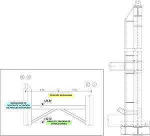 Bancada para apoyo de máquinas y arriostramiento elástico del cordón superior.