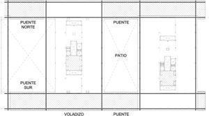 Nivel de planta presidencial (cuarta). Mitad este. Las áreas tramadas corresponden a la superficie de forjados de planta cuarta y quinta colgados de la estructura de cubierta.