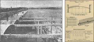 Ribera's Reservoir in Gijón in 1902, and the Monier system for the vaults.