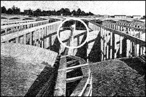 Deformations of a beam in the first chamber, June 1905. Revista de Obras Públicas, 14 March 1907.