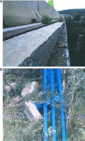 Colapso total de un pretil metálico dispuesto en la rehabilitación de un puente.