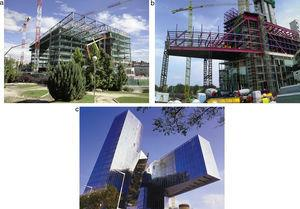 Building and roof of the Data Processing Centre in the execution stage (above), Gas Natural headquarters building in Barcelona (below).
