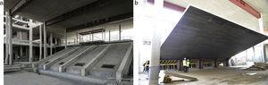 Grandstand of the conference hall and roof on composite beams. Front and back views.