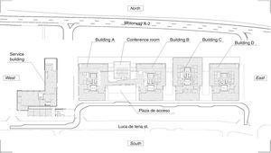 General floor plan of the headquarters.