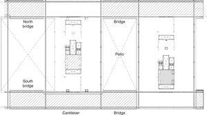 Presidential floor level (fifth). East side. The plotted areas correspond to the structural steel frame of the fourth and fifth floor that hangs from the roof structure.