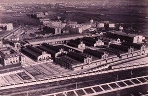 Historic picture of the original Matadero de Madrid complex.