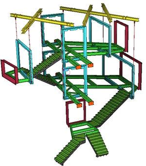 View of the Tekla model developed for fabricating the steel structure.
