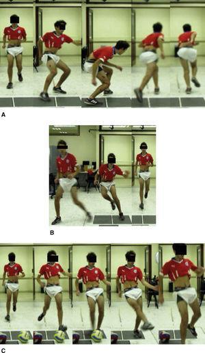 Vista frontal de las tareas funcionales evaluadas. A: carrera con cambio de dirección en 180°. B: carrera con cambio de dirección en 90°. C: GB: de balón.