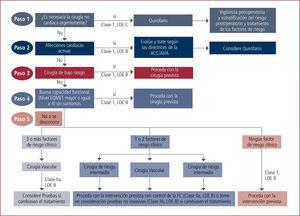 Algoritmo de evaluación cardica perioperatoria LOE B: Nivel de evidencia B. LOE C: Nivel de evidencia C. Tomado de Fleisher LA, et al. ACC/AHA 2007.3
