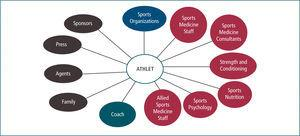 Internal and external communication partners in sports medicine