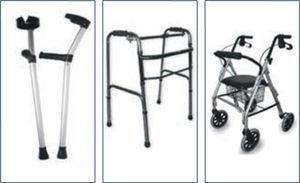 Bastón tipo canadiense, andador de 4 patas y andador con ruedas (catálogo rehacare®)