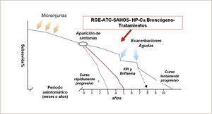 Historia natural de la fibrosis pulmonar idiopática. Modificado de M. Selman (Adaptado de referencia 7).