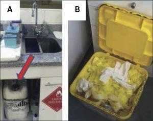 Eliminación de desechos peligrosos A) Líquidos (Tinciones). B) Sólidos.