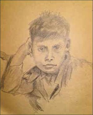 Dibujo a lápiz de uno de sus hijos (Cortesía de la Familia Fuenzalida Ruiz).