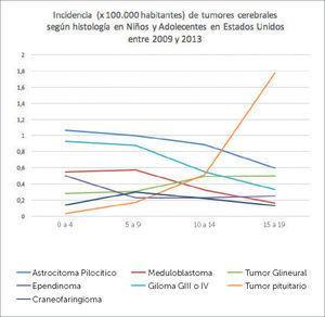 INCIDENCIA DE TUMORES CEREBRALES EN NIÑOS Y ADOLESCENTES SEGÚN HISTOLOGÍA CBTRUS 2009-2013. Adaptado de Quinn T. Ostrom, Haley Gitterman, Jordan XI, Courtney Kromer, Yongli Wolinsky, carol Krinchko, and Jill S. Barholtz-Sloan, CBTRUS Staditical Report: primary Brain and Central Nervous System Tumors Diagnosed in the United States in 2009-2013. Neuro Oncol (2016)18 (suppl5) v1-v75.