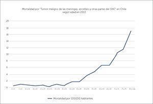 MORTALIDAD POR TUMOR DE LAS MENINGES, ENCÉFALO Y OTRAS PARTES DEL SNC EN CHILE SEGÚN EDAD EN 2013 Ref. 32.
