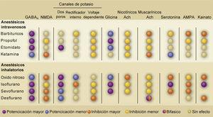 TABLA RESUMEN DE LOS BLANCOS MOLECULARES DE LOS DIFERENTES ANESTÉSICOS GENERALES Abreviaciones: Ach: acetilcolina; AMPA: ácido α-amino-3-hidroxi-5-metilo-4-isoxazolpropiónico; GABAA: receptores γ-ácido amino butírico tipo A; NMDA: N-metil-D-aspartato. Tomado y modificado de Alkire, M.T., Hudetz, A.G. & Tononi, G. Consciousness and anesthesia. Science 322, 876-880 (2008).