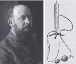 George Kelling y su insuflador manual para realizar pneumoperitoneo