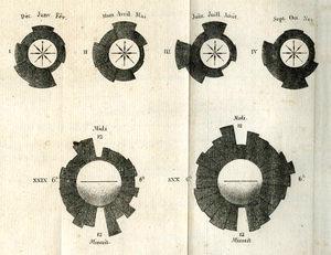 Gráfico de área polar creado por André-Michel Guerry en 1829 El radio de cada porción del gráfico se mantiene constante, mientras que el área se varía en proporción al dato que representa. Se debe leer de forma cíclica al igual que un reloj (recuperado de http://datavis.ca/milestones//admin/uploads/images/guerry/guerry_1829-coxcombs.jpg el 17/03/18)