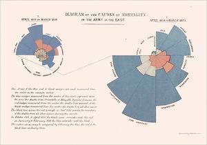 """La """"Rosa de Nightingale"""" Gráfico de área polar que representa la cantidad de defunciones de la milicia británica entre 1854 y 1856 y sus principales causas (De Florence Nightingale (1820–1910). - http://www.royal.gov.uk/output/Page3943.asp [dead link], Dominio público, https://commons.wikimedia.org/w/index.php?curid=1474443)"""