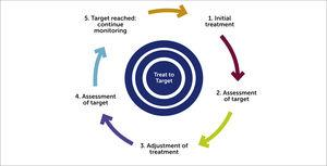 Schematic of a treat-to-target approach to IBD management.