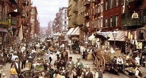 Mulberry Street. 1900. Centro de reunión de la colonia italiana en NYC. En estas calles Giovanni Bonica ejerció sus oficios.