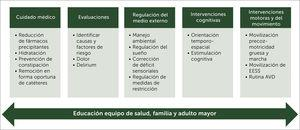 Paquete de medidas no farmacológicas para la prevención delirium[26,27,29,31,34,36]. En verde se encuentran las áreas de intervención y en verde claro las acciones / técnicas específicas a considerar. AVD: Actividades de vida diaria.