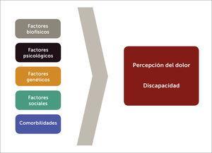 Multifactorialidad en la génesis y cronificación del dolor lumbar. Se esquematizan aquellos factores que pueden ser parte del inicio y de la continuidad del dolor lumbar.