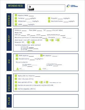 Check list o planilla de verificación de atención de paciente, en UCI ampliada en pabellón-recuperación.