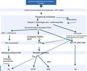 Algoritmo diagnóstico de amiloidose. ANA: anticorpos antinucleares; ECG: eletrocardiograma; EFP: eletroforese de proteínas; ENA: autoanticorpos; ETT: ecocardiograma transtorácico; FR: fator reumatoide; IFP S e U: imunofixação soro e urina; MO: medula óssea; MT: marcadores tumorais; Neg: negativo; Pos: positivo; RM: ressonância magnética.