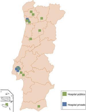 Distribuição geográfica dos Centros de Eletrofisiologia públicos e privados em Portugal.
