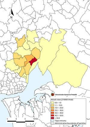 Map showing the attack rate of Legionnaires' disease by place of residence (parish), Vila Franca de Xira, Portugal.