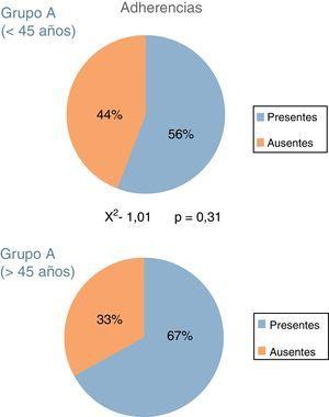 Porcentaje de adherencias en cada uno de los grupos de estudio. El análisis estadístico no mostró diferencias significativas entre los grupos.