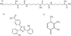 Fórmulas estructurales de los quelantes deferoxamina (a), deferasirox (b) y deferiprona (c). Fuente: PubChem Public Chemical Database, 2012.