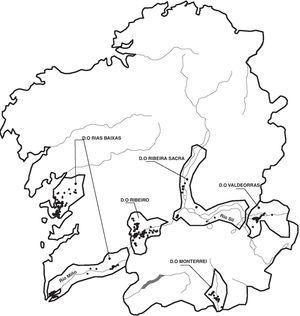 Mapa indicando los puntos de muestreo en las cinco denominaciones de origen vitivinícolas gallegas.