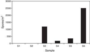 Concentrations obtained by the non-viable method in the sampling sites (spores/m3 air).