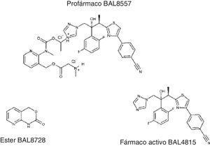 Estructura química del isavuconazonio (BAL8557) y del isavuconazol (BAL4815).
