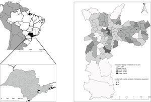 Population density of the municipality of São Paulo and locations in which H. capsulatum was found (QGIS version 2.18).