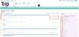 Página de resultados de Trip: en su parte derecha se puede ver el resultado ordenado en categorías de la pirámide de evidencia.