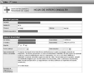 Hoja de interconsulta. Aplicativo Aitana Historiales Clínicos. Aitana SBS®.