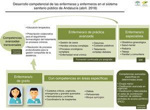 Representación gráfica del desarrollo competencial por perfiles de práctica en el SSPA. Estrategia de cuidados de Andalucía, 2018.