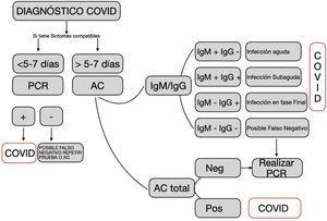 Criterios de utilización e interpretación de los tests diagnósticos frente a la COVID-19. Fuente: Elaborada a partir del documento: «Indicaciones y procedimiento de utilización de test diagnósticos de infección COVID-19»25.