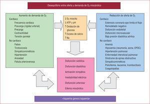 Principales factores implicados en la fisiopatología de la cardiopatía isquémica crónica. Modificado de Pepine et al8.