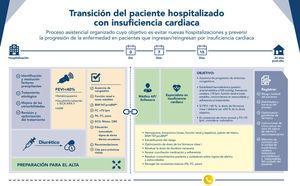 Decálogo de la Sociedad Española de Cardiología sobre la transición del paciente con IC hospitalizado48. AP: atención primaria; ARAII: antagonistas del receptor de la angiotensina II; ARM: antagonistas del receptor de mineralocorticoides; BNP: péptido natriurético cerebral; DAI: desfibrilador automático implantable; FC: frecuencia cardiaca; FEVI: fracción de eyección del ventrículo izquierdo; HTA: hipertensión arterial; IC: insuficiencia cardiaca; IECA: inhibidores de la enzima de conversión de la angiotensina; NT-proBNP: fracción aminoterminal del propéptido natriurético cerebral; PA: presión arterial. * Si está disponible en el centro.
