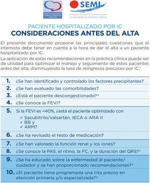 Consideraciones antes del alta del paciente con IC hospitalizado, según la Sociedad Española de Medicina Interna124. ARAII: antagonistas del receptor de la angiotensina II; ARM: antagonistas de los receptores mineralocorticoides; BB: bloqueadores beta; FC: frecuencia cardiaca; FEVI: fracción de eyección del ventrículo izquierdo; IC: insuficiencia cardiaca; IECA: inhibidores de la enzima de conversión de la angiotensina; PAS: presión arterial sistólica.
