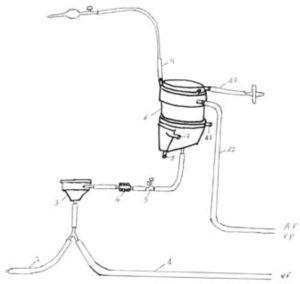 Componentes del circuito ECMO: la ubicación de las cánulas arterial y venosa se corresponde con las siglas AF y VF. 1: línea venosa; 2: línea de priming; 3: bomba centrífuga; 4: medidor de flujo; 5: conexión para determinación de análisis sanguíneos y monitorización de presión; 6: oxigenador; 7 y 8: conexiones para la entrada y salida de agua del inter-cambiador de calor (habitualmente no se utiliza en adultos); 9: línea de purgado de aire; 10: línea de entrada de la mezcla oxígenoaire; 11: línea de salida de dióxido de carbono; 12: línea arterial.