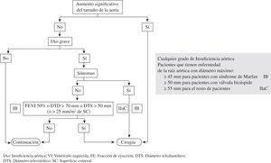 Indicaciones de cirugía en la IAo de la Sociedad Europea de Cardiología.