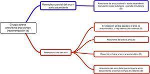 Extensión propuesta de la cirugía abierta del aneurisma de arco aórtico. Fuente: Hiratzka et al.4.