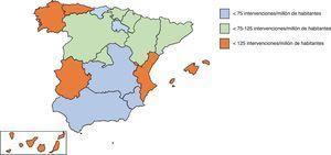 Distribución de la media de intervenciones de revascularización coronaria aislada por millón de habitantes, estratificadas por comunidad autónoma.